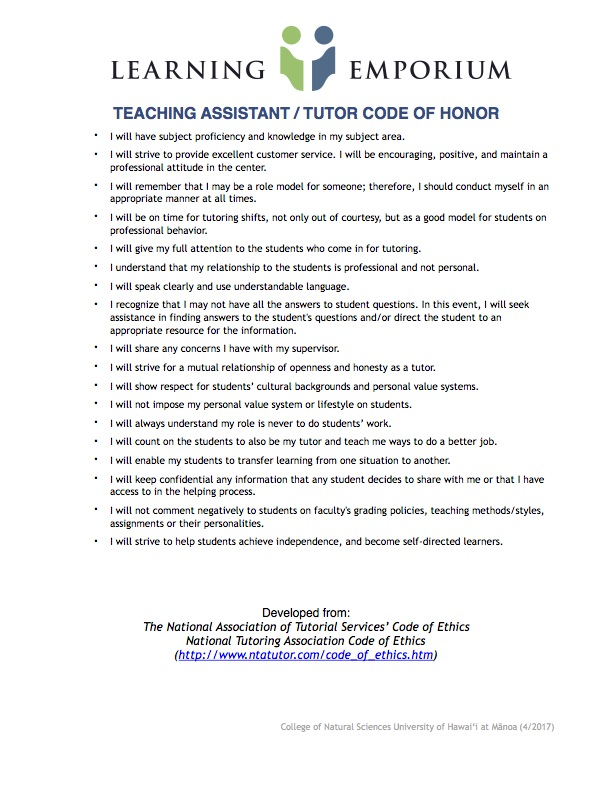 Tutor Code of Honor