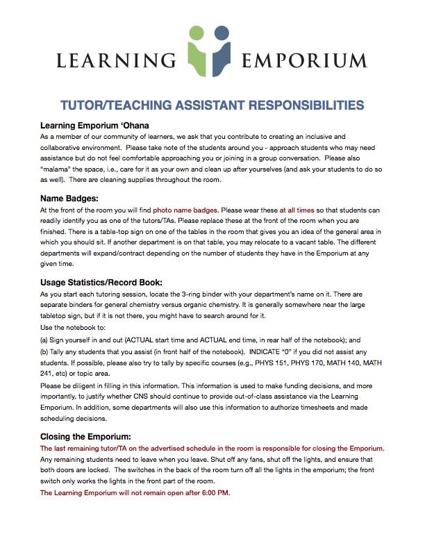 Tutor Responsibilities
