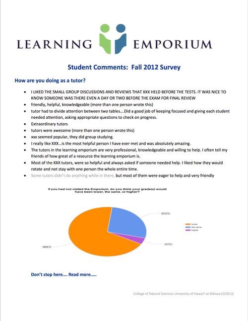 Emporium Student Evaluations Summarized